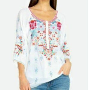 Johnny Was Muna Embroidered Boho Tunic Blouse